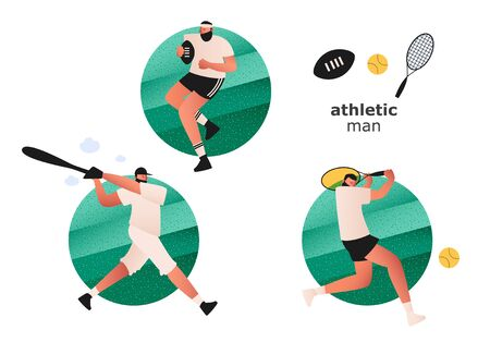A set of athletes from different sports. A tennis player hits the ball with a racket. Attacking a Rugby player. A baseball player with a bat prepares to strike. Vector illustrations of tennis, Rugby and baseball