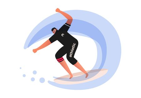 A surfer rides an ocean wave and makes a lot of splashes. Water sport vector illustration. Sliding on a Board on water Vektorgrafik