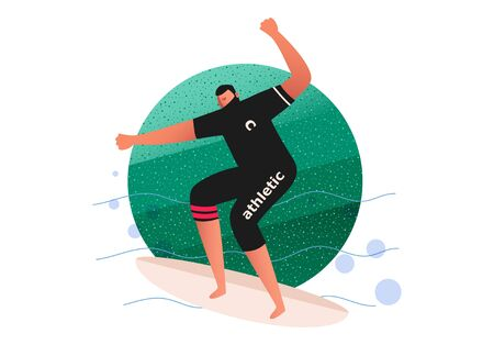 A surfer on a surfboard slides through the water. Water sports vector illustration. Surf Logo