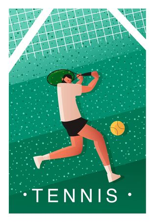 Template for a tennis tournament poster. A tennis player with a racket is preparing to hit the ball. Vector illustration of team sports Vectores