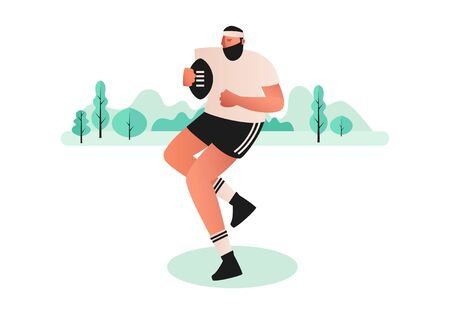 A Rugby player runs with a ball in his hands, dressed in a t-shirt, shorts and cleats. Team sports competitions. Vector illustration of active ball games