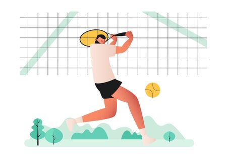 A professional tennis player plays tennis on the court. He is preparing to hit the ball with a racket. The ball is flying in the air. Vector illustration of sports games Vectores