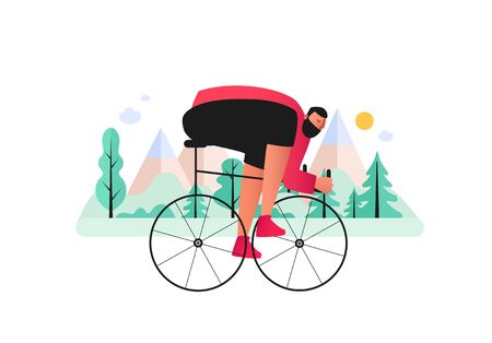 A bicyclist-biker overcomes cross country in a mountainous area. Cross-country mountain Biking. Vector illustration of extreme sports