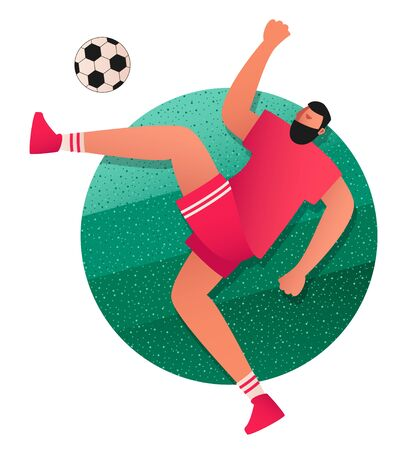 The player jumps and kicks the ball. Attacking player of the football team in equipment. Vector illustration of a football player in the game