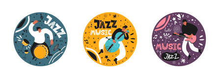 Music set of a jazz orchestra. Musicians play jazz instruments. Stylish jazz lettering. Vector music logos for printing products Ilustracja