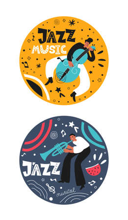 A musical set of jazz people. Musicians play the trumpet and double bass. Stylish jazz lettering. Vector music logos for concert or product printing  イラスト・ベクター素材