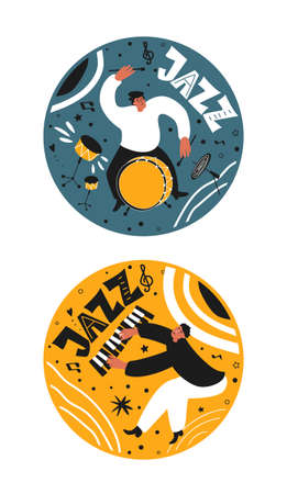 A musical set of jazz people. Musicians play drums and piano. Stylish jazz lettering. Vector music posters for concerts and festivals