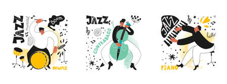 Set of jazz people. Musicians play drums, piano and double bass. Inscriptions and phrases in the jazz style. Vector music posters in the style of comics
