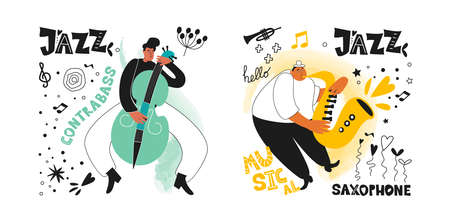Jazz musicians double bass and saxophonist. Inscriptions and phrases in the jazz style. Jazz instruments double bass and saxophone. Vector music posters