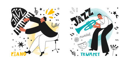 A group of jazz musicians, a piano player and a trumpeter. Jazz instrument trumpet. Inscriptions and phrases in the jazz style. Vector music posters Ilustracja