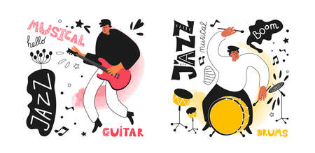 Set of jazz musicians drummer and guitarist in the style of a comic book. Jazz instruments drums, guitar. The phrase jazz. Vector music illustrations Ilustracja