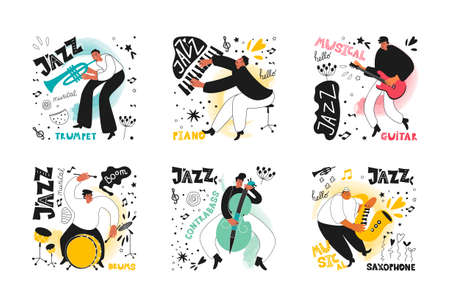 Set of jazz musicians of the orchestra. Trumpeter, saxophonist, drummer, guitarist, double bass player, pianist. Vector musical instruments. Illustrations in the style of comics