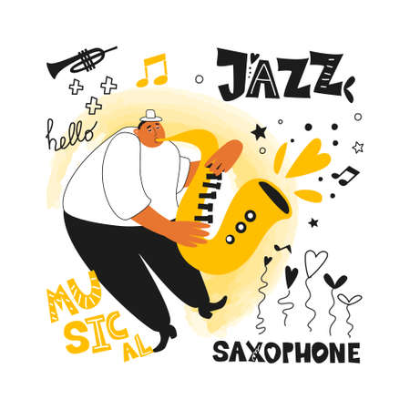 Jazz musician and saxophonist. Performance of a melody on a saxophone. Music poster for a jazz festival or concert