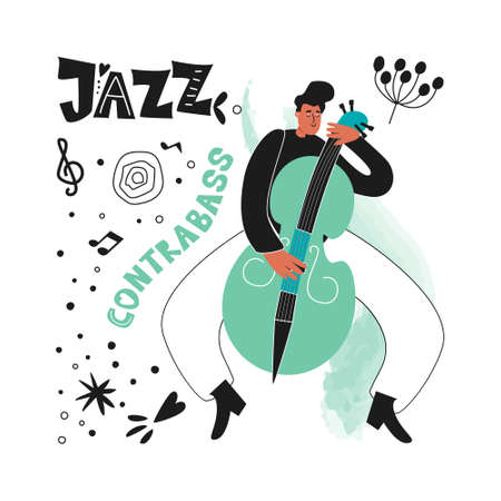 Double bassist jazz musician plays the instrument double bass. Jazz Poster. Vector musical illustration of a double bass player Ilustracja