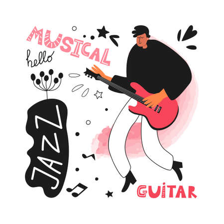 A jazz band guitarist plays the guitar. Jazz instrument guitar. Vector jazz poster. Performance of the musician Ilustracja