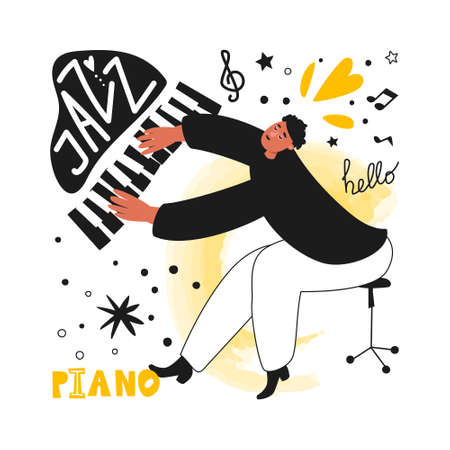 A jazz pianist performs a musical melody. Jazz piano. Vector illustration of a musician in a tuxedo