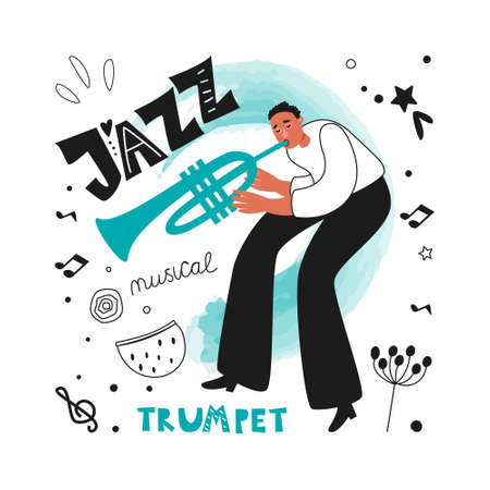 Jazz musician trumpeter performs a musical melody. The jazz trumpet. Vector illustration for a poster