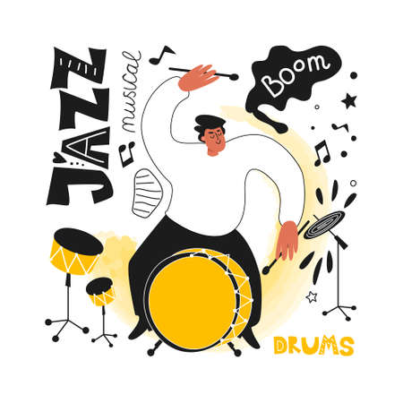 Jazz drummer with a drum kit. Jazz festival. Vector illustration of musical style Ilustracja