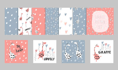 A large set of seamless patterns and prints with a cute delicate design.