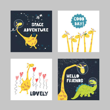 A set of illustrations of cute giraffes with dinosaurs and written phrases in the space style.