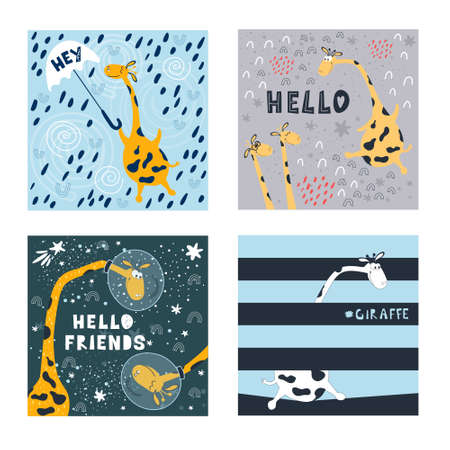 A set of illustrations of cute flying giraffes and written phrases in the space style. For printing on children's clothing, bedding, paper, and packaging. Ilustracja