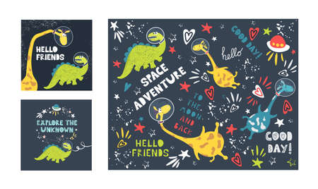 A set of illustrations of cute giraffes with dinosaurs and written phrases in the space style. For printing on children's clothing, bedding, paper, and packaging.