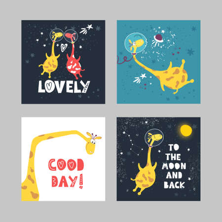 A set of illustrations of cute flying giraffes and written phrases in the space style.