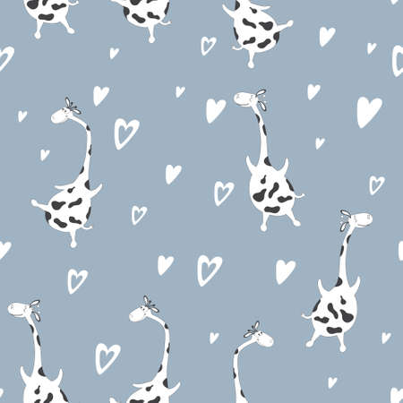 Seamless pattern of cute flying giraffes on the blue sky.  Drawn characters in the style of comics