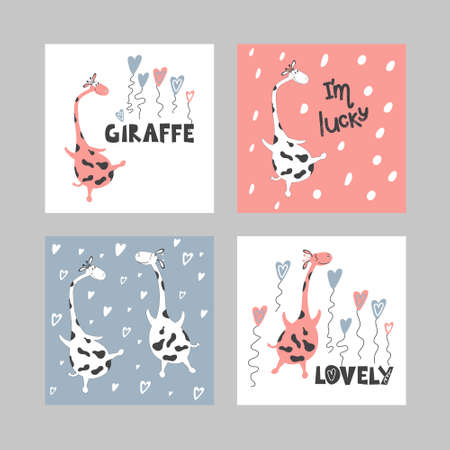 A set of illustrations of cute flying giraffes and written phrases.