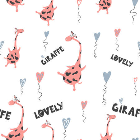 Seamless pattern of cute flying giraffes and written phrases.