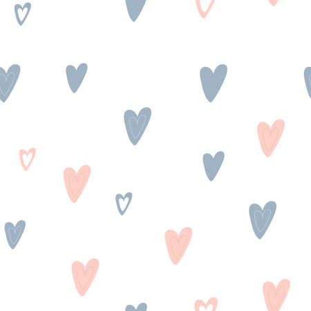 Seamless pattern from the drawn shapes of the heart. Ilustracja