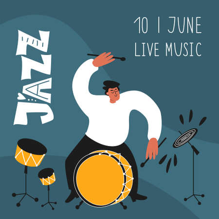 Jazz drummer with a drum kit. Jazz festival. Illustration of musical style Ilustracja