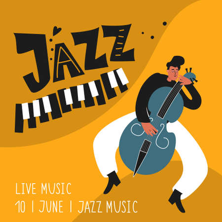 Double bassist jazz musician plays the instrument double bass. Jazz Poster. Musical illustration of a double bass player Ilustracja