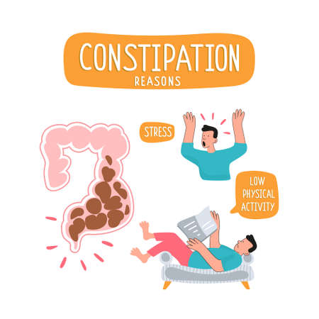 Irritable bowel syndrome. Illustration of a spasm on the gut. Vector illustration of medical posters in gastroenterology