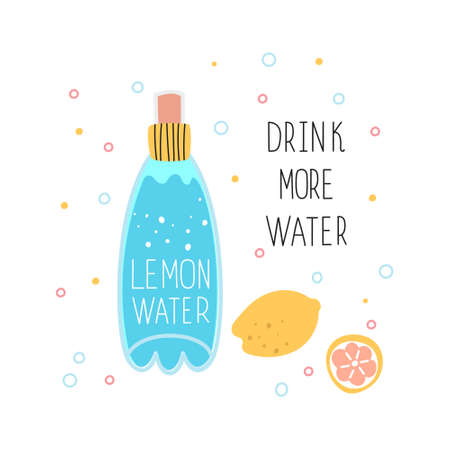 A bottle of water with lemon juice. The concept of drinking more water. The use of drinking water. Vector illustration isolated on a white background