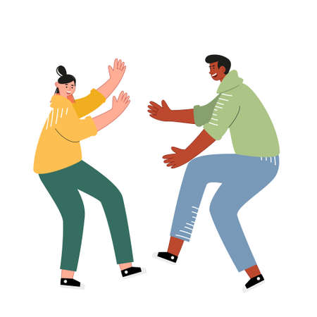 Teenagers dancing at a disco. Young dancing people enjoy a musical evening. Modern dance in a club. Cute vector illustration of dancers
