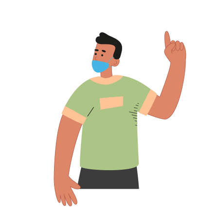 A man in a mask shows a gesture with his forefinger. The importance of using a mask of protection. World pandemic. Vector illustration of illness Иллюстрация