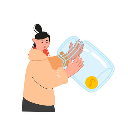 The girl is holding an empty glass jar with one coin. Financial crisis. Global recession, stock market crash. Vector illustration of the crisis in the world economy