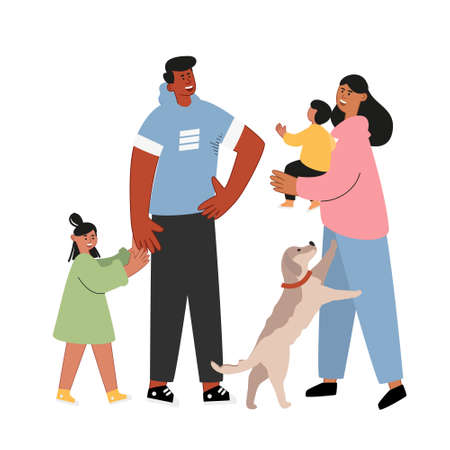 Portrait of a happy family. Mom is holding her son, dad and daughter, a dog. Great parents with children. Vector family day illustration