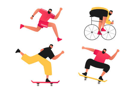 The man is engaged in active sports. Set of vector illustrations of outdoor sports. Skateboarding, cycle track, running, jumping