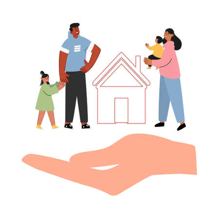 Lovely parents with children. Family and home insurance. Protection and care of people, life and health insurance. Insurance vector concept Illustration