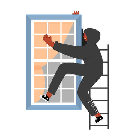 A thief in a black hood climbs through the window. The offender wants to burglary in the apartment. Home robbery. Vector illustration of security Иллюстрация