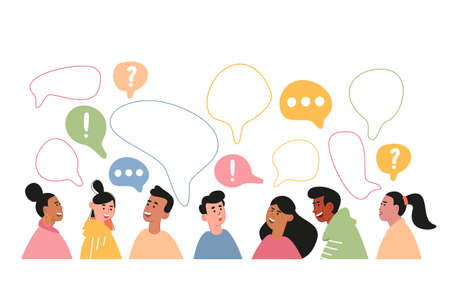 Cute people of different nationalities communicate with each other on the Internet. Vivid portraits of people from different countries of the world with speech bubbles. Multinational Dating. Vector illustration