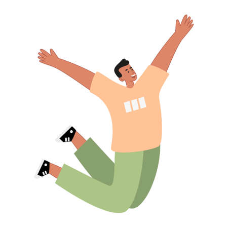 A man in a good mood jumps with happiness. Experiences and expresses emotions feelings of joy. Vector illustration of happy people Stock fotó - 158368732
