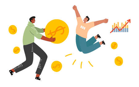 The guy holds a huge coin in his hands and the friend jumps for joy, tucking his legs under him. Excellent results in the investment portfolio and on the chart.