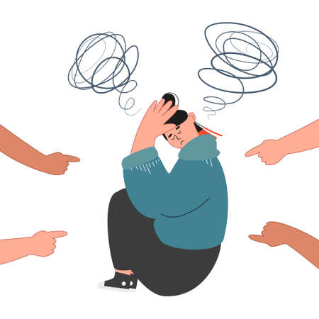 Reproaching and pressure on teenager, bullying concept. Depressed teenage girl. Bullying and depression at school. Vector illustration of unhappy teenager