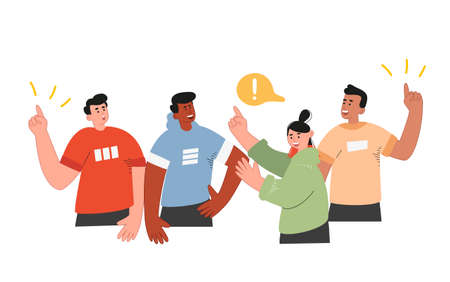A group of national people discussing ideas, some raise their hands, the concept of social networks, volunteering, elections. Vector illustration