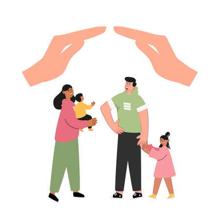 Young family with children. Insurance and taking care of your family. Protection of people, life and health insurance. Insurance vector concept