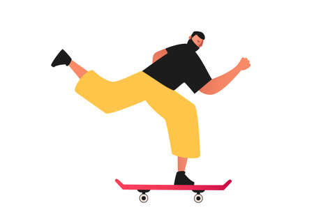 Young man on a skateboard. Extreme sport training tricks isolated on white background. Active rest on a skateboard. Skateboarding vector illustration