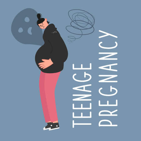 Sad pregnant teenage girl put her hands on her belly. Early, unwanted pregnancy of underage girls. Socio-psychological problem. Vector illustration